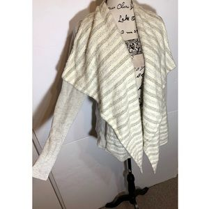 Lucky Brand Striped Layered Open Cardigan